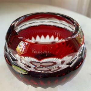 Signed Faberge Red Votive Vase Tea Light. NEW